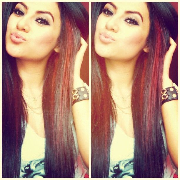 Black Hair With Red Peekaboo Highlights I Would Do This With A Dark