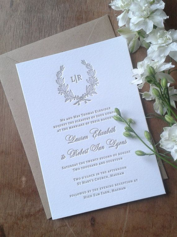Letterpress wedding invitations rustic traditional wreath letterpress wedding invitations rustic traditional wreath etienne sample stopboris Image collections