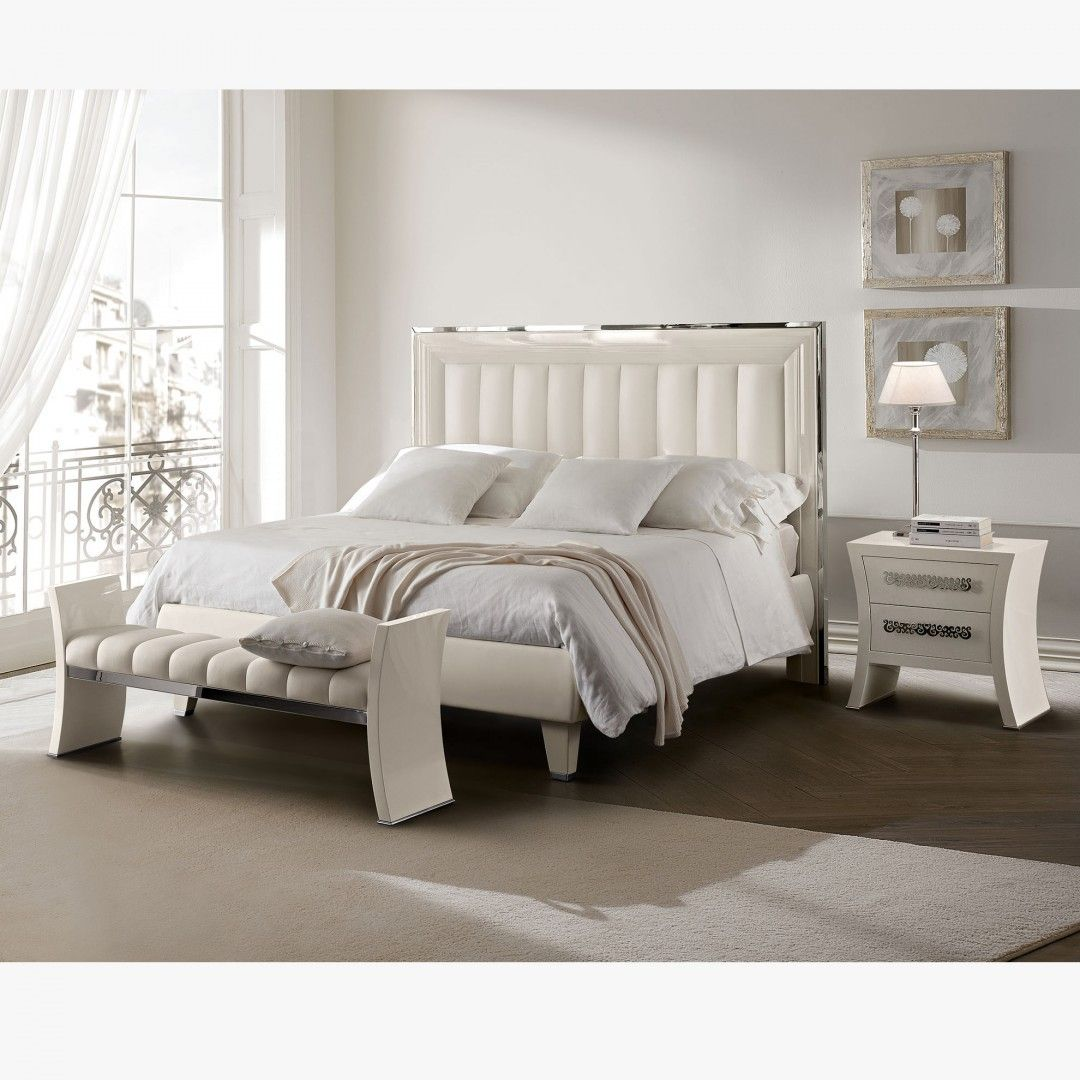 Glam Bedroom Set, White & Silver Country bedroom