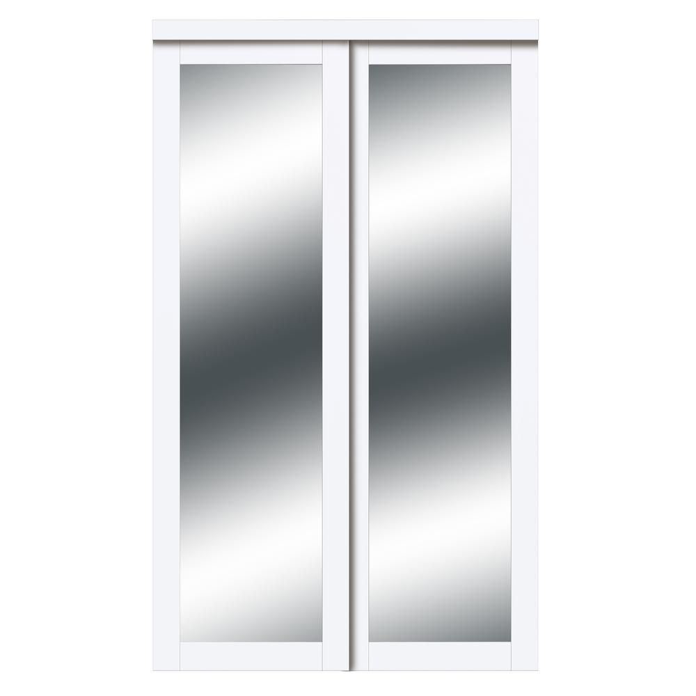 Truporte 72 In X 80 In Harmony White Mirror Mdf Bypass Sliding Closet Door Eu3210pwcle072080 The Home Depot In 2020 Sliding Mirror Closet Doors Sliding Closet Doors Closet Doors