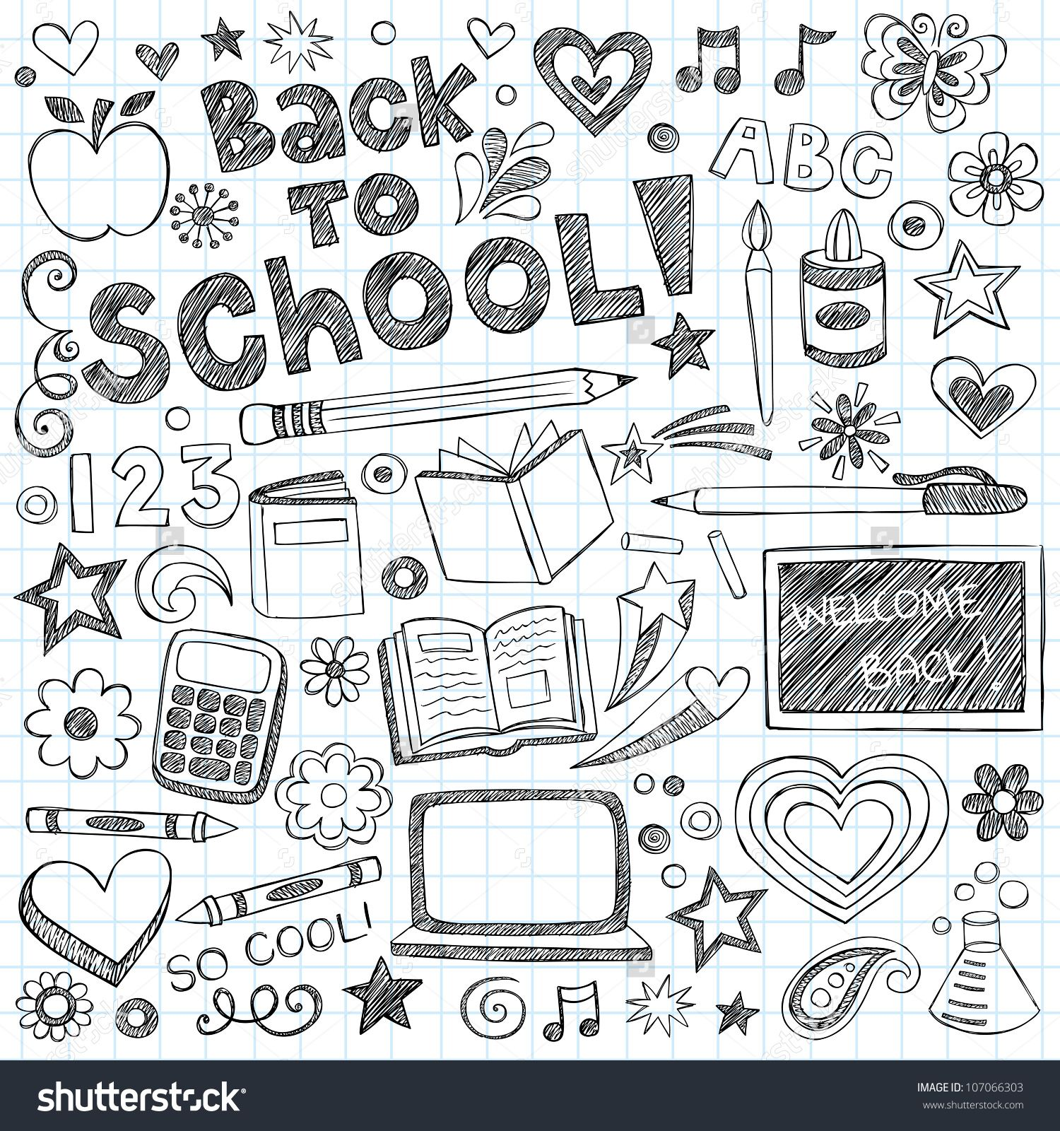 Back To School Supplies Sketchy Notebook Doodles With Lettering Shooting Stars And Swirls Hand Drawn Vector Illustration Design Elements On Lined