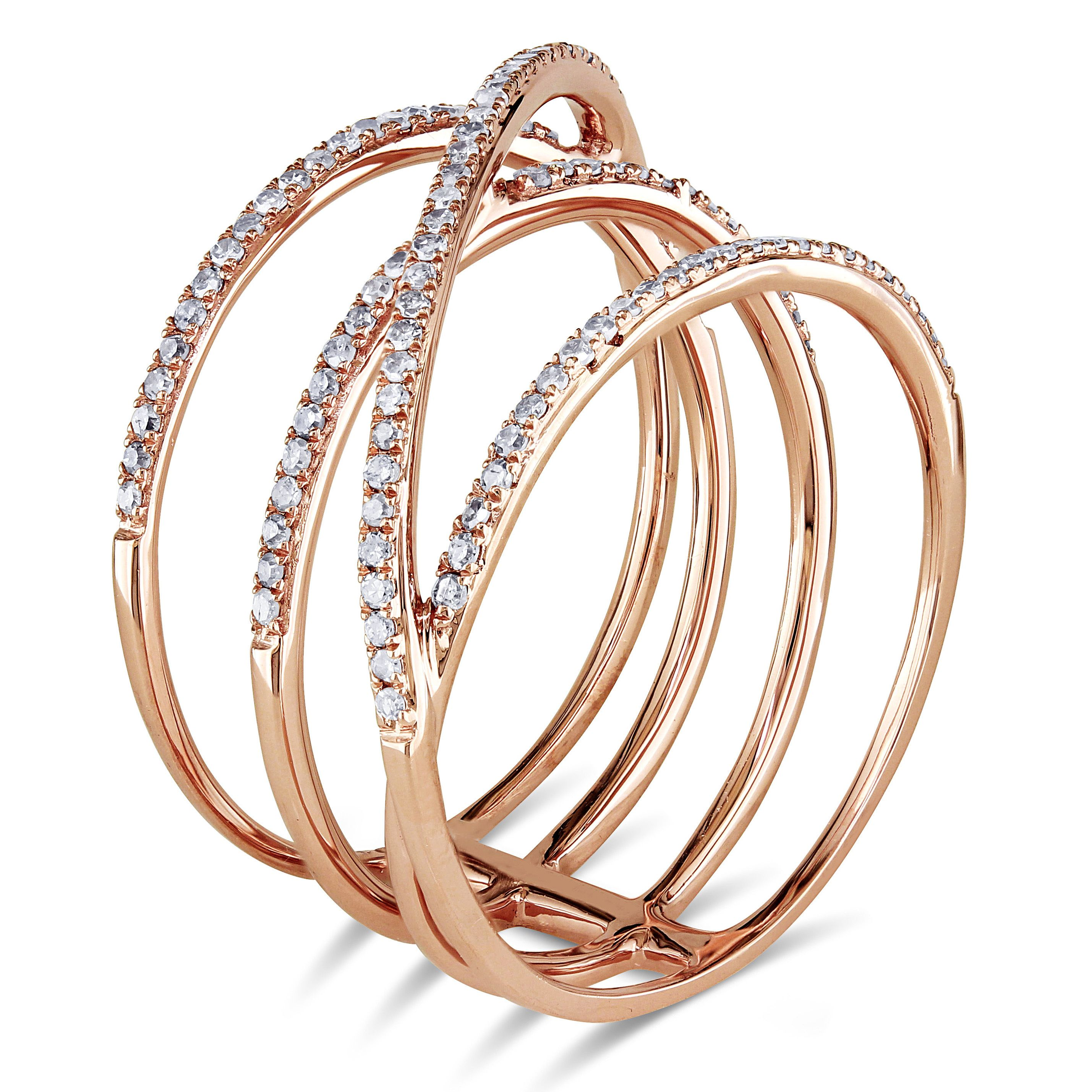 liRound white diamond crisscross ringli li14karat rose gold
