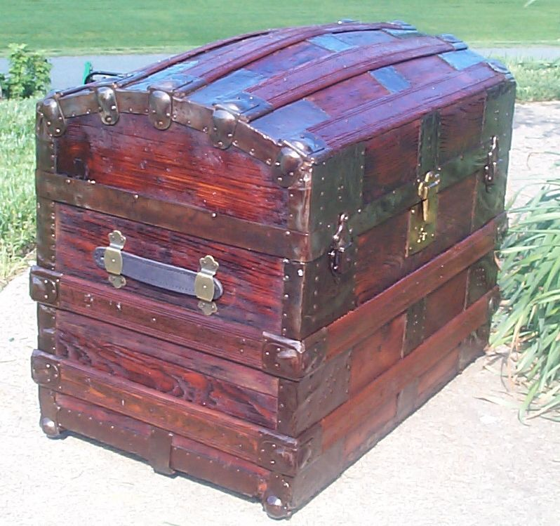 Restored Victorian Humpback Or Dome Top Antique Trunk For