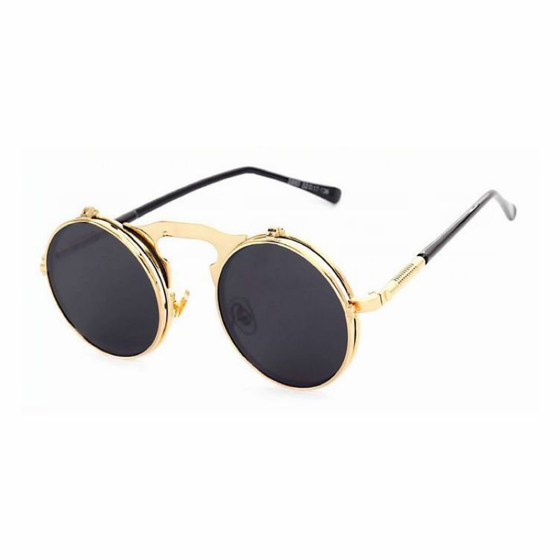 gothic steampunk round metal flip up unisex sunglasses gold frame grey lens