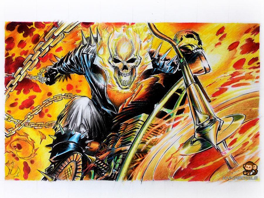 Ghostrider Color Pencil Drawing Color Pencil Drawing Pencil Drawings Ghost Rider Drawing