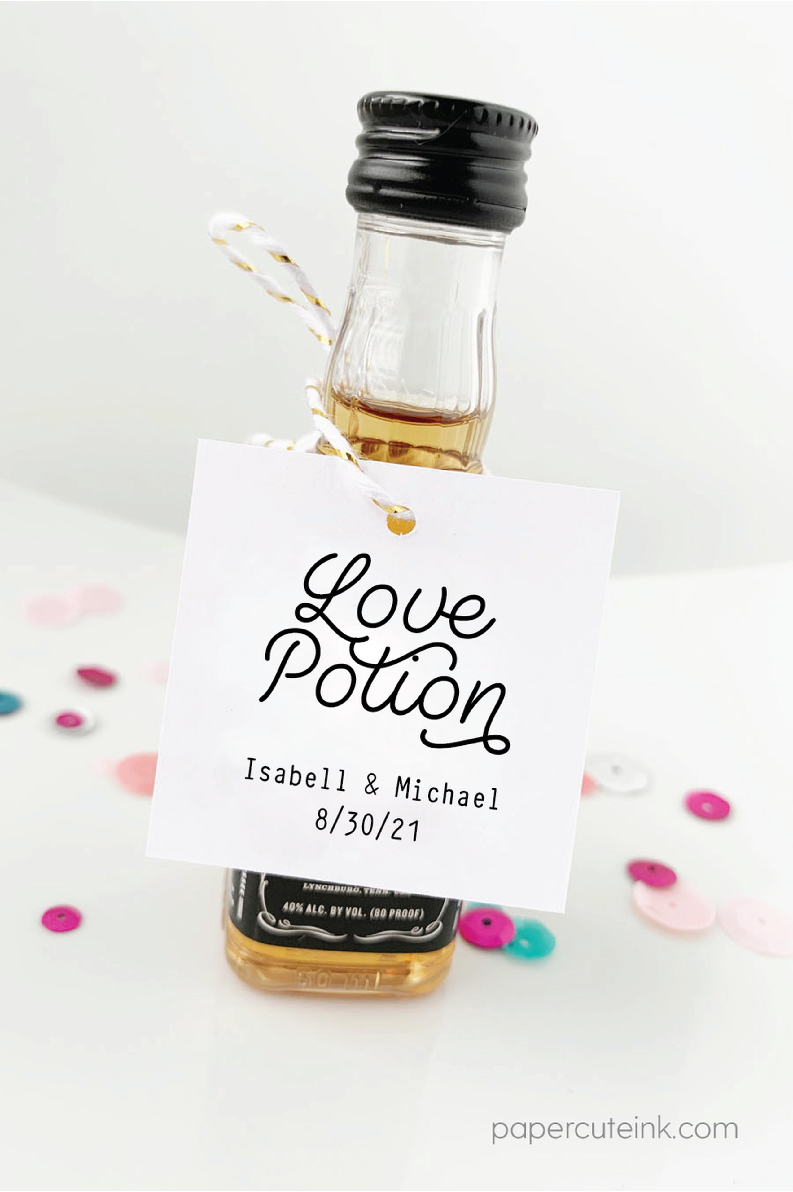 Love Potion Mini Bottle Tags Wedding Favors Wedding Bottles Wedding Favours Bottles Mini Liquor Bottles