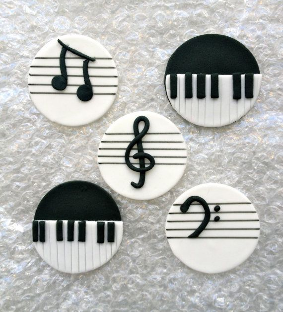 music inspired handmade edible fondant cupcake toppers cake. Black Bedroom Furniture Sets. Home Design Ideas