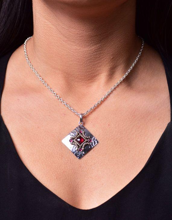 Garnet necklace garnet pendant silver garnet jewelry red gemstone garnet necklace garnet pendant silver garnet jewelry red gemstone sterling silver garnet chain necklace red garnet large pendant birthday mozeypictures Gallery