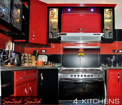 Alumital Modern Kitchen In Red And Black Colors ~ Stylishly Home Gorgeous Kitchen Design Red And Black Design Inspiration