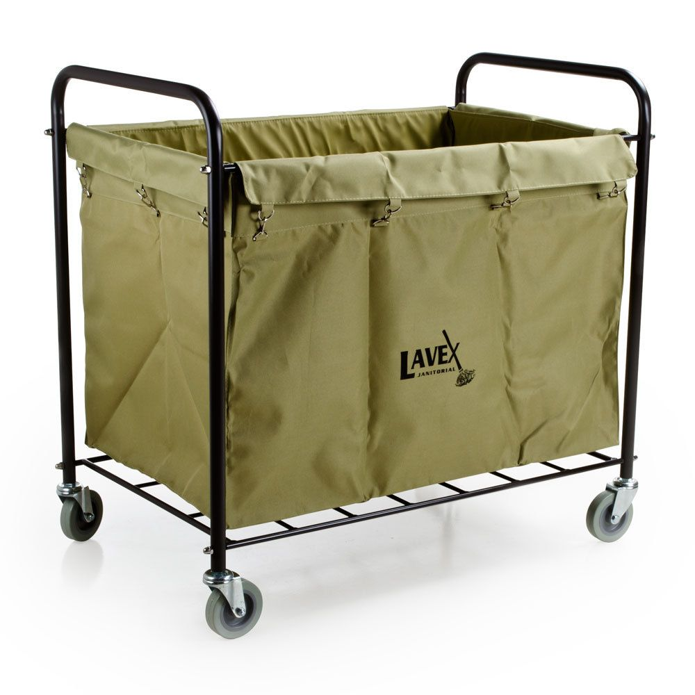 Lavex Lodging Commercial Laundry Cart Trash Cart With Handles 12 Bushel Metal Frame And Canvas Bag Laundry Cart Commercial Laundry Laundry Cart With Wheels