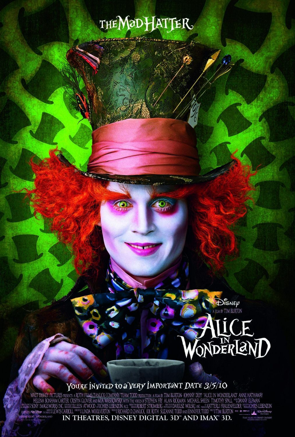 Alice In Wonderland Love This Poster And Love The Movie Johnny Depp Wonderland Poster