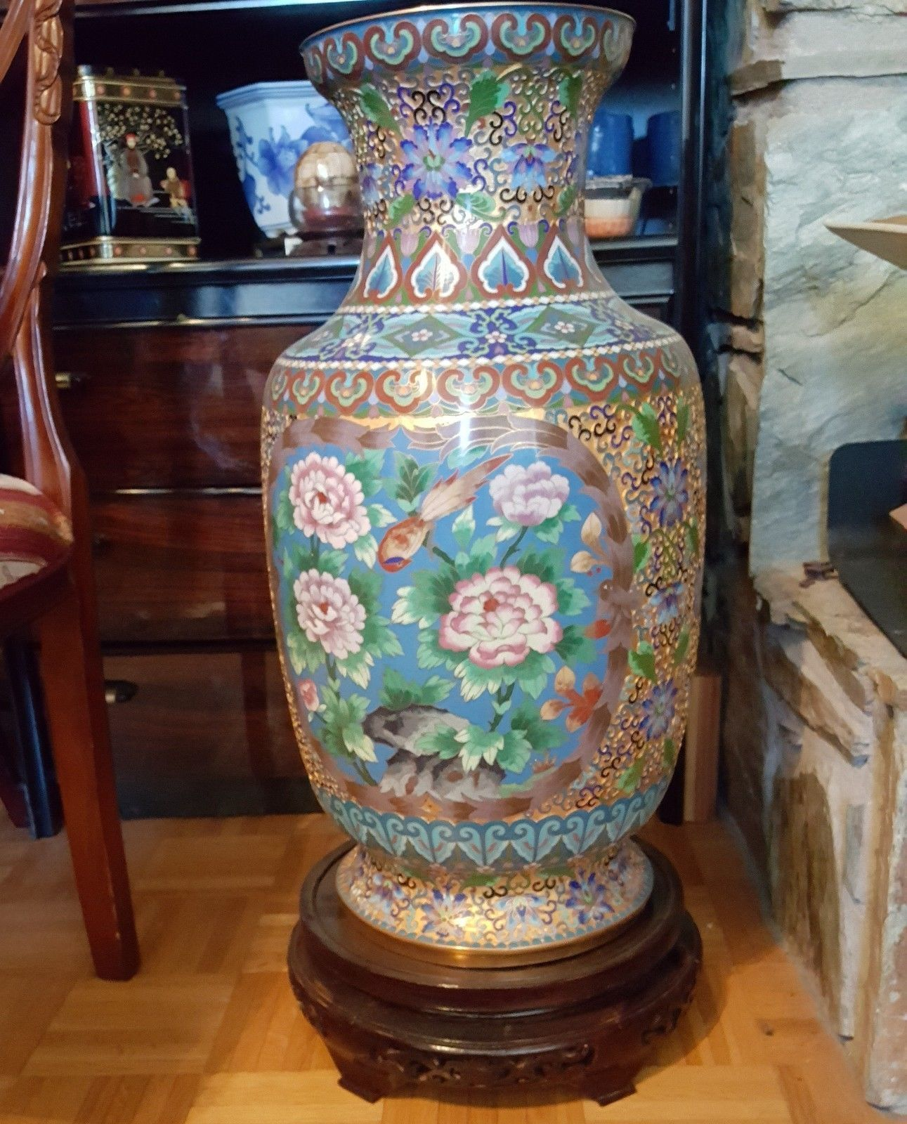 antiques gifts cloisonn large vase 25 tall rare chinese original antique collectors antique chinachristmas gift ideasantique