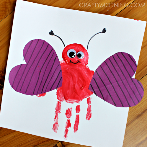 Valentines Kids Crafts use hand prints to make this great