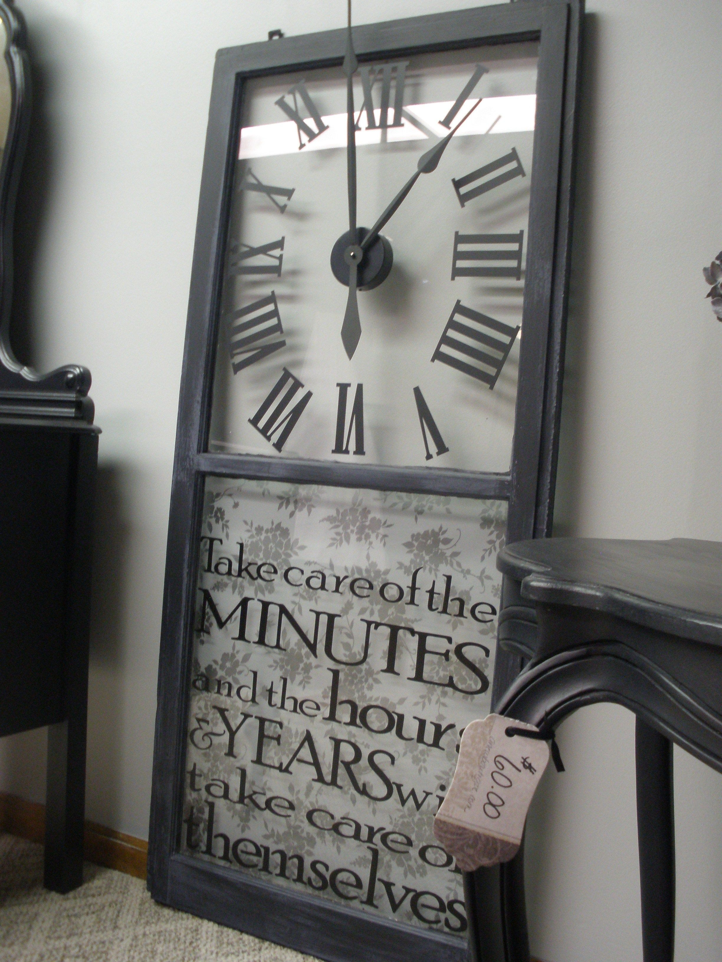 My dad found this old wooden window. After cleaning and painting, I made it into a functional clock! Check out more at www.anewboutique.com