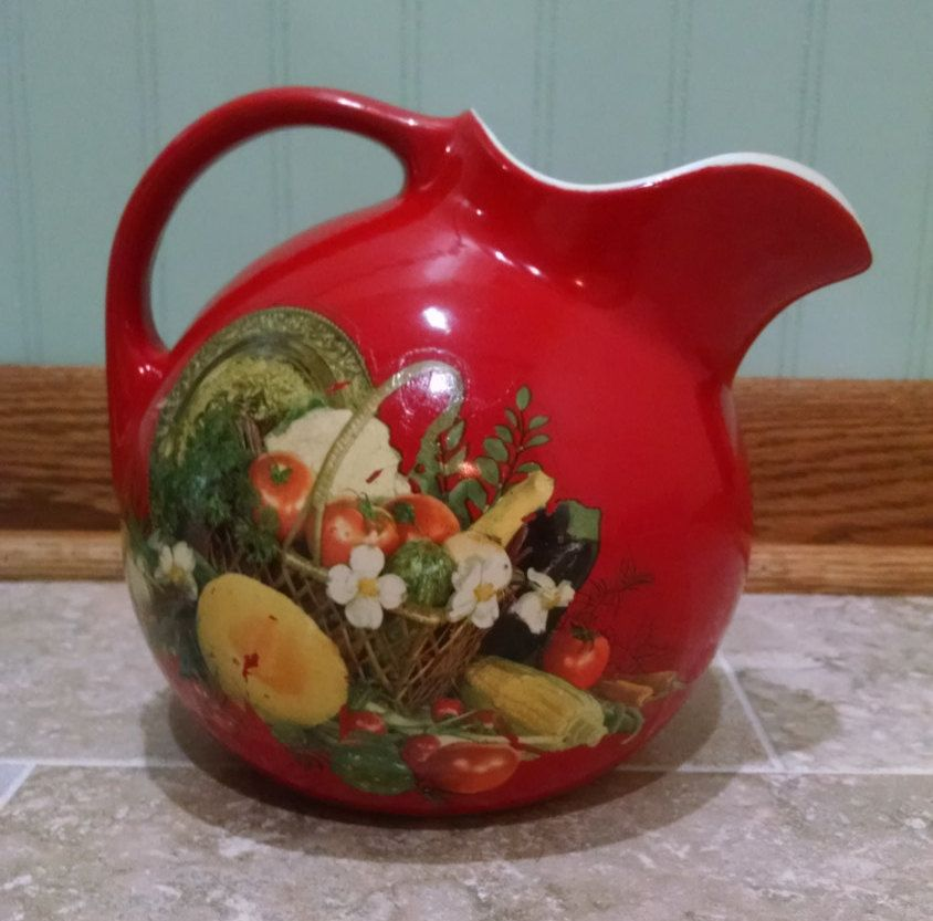 Hall Red Ball Pitcher With Ice Lip/Ice Guard   Hall Kitchenware   Fruit  Decal   Cherry Red   Vintage