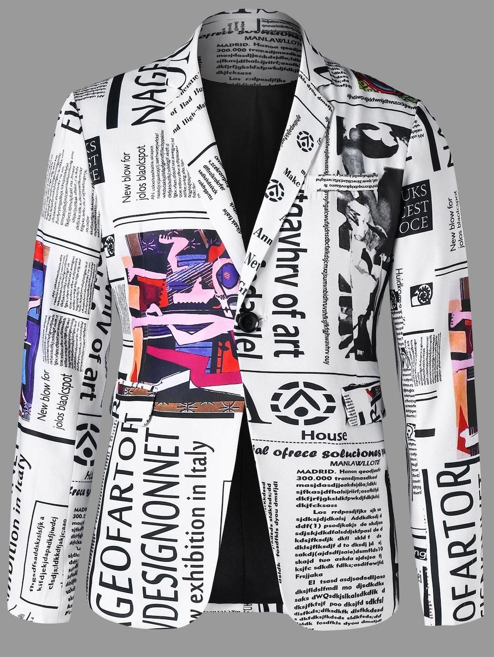 Newspaper Graphic Lapel Blazer White Xl