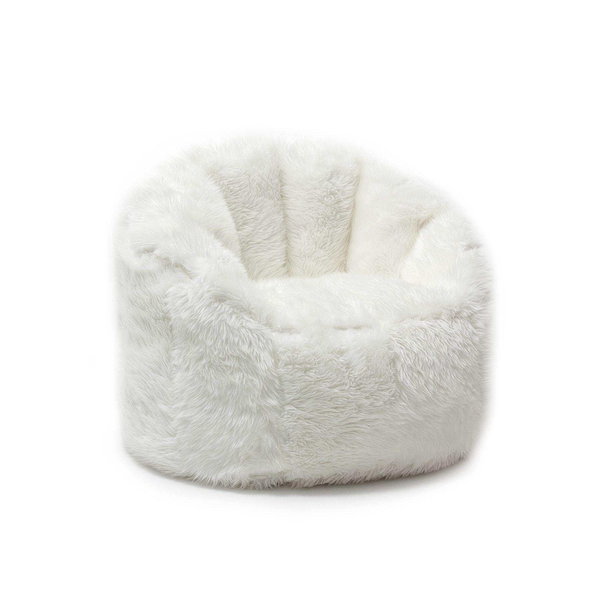 Big Joe Ivory Shag Milano Chair BEAN BAG CHAIRS