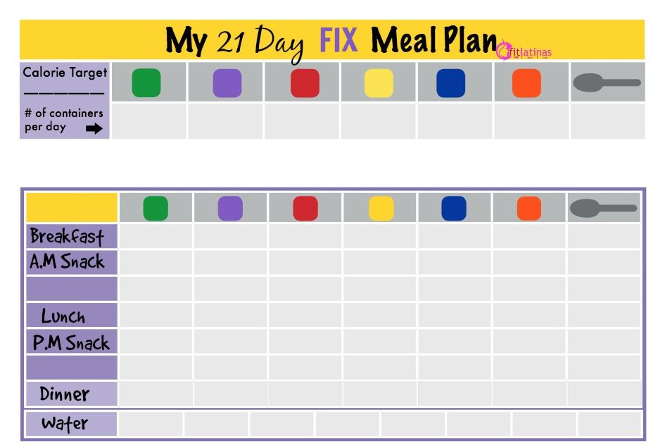 21 day fix menu planner chart Google Search 21 day fix