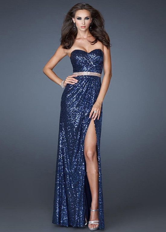 long prom dresses   ... Navy Sequined Long