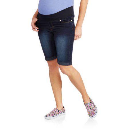 Oh! Mamma Maternity 10 inch Demi-Panel Denim (Blue) Bermuda Shorts, Size: Medium