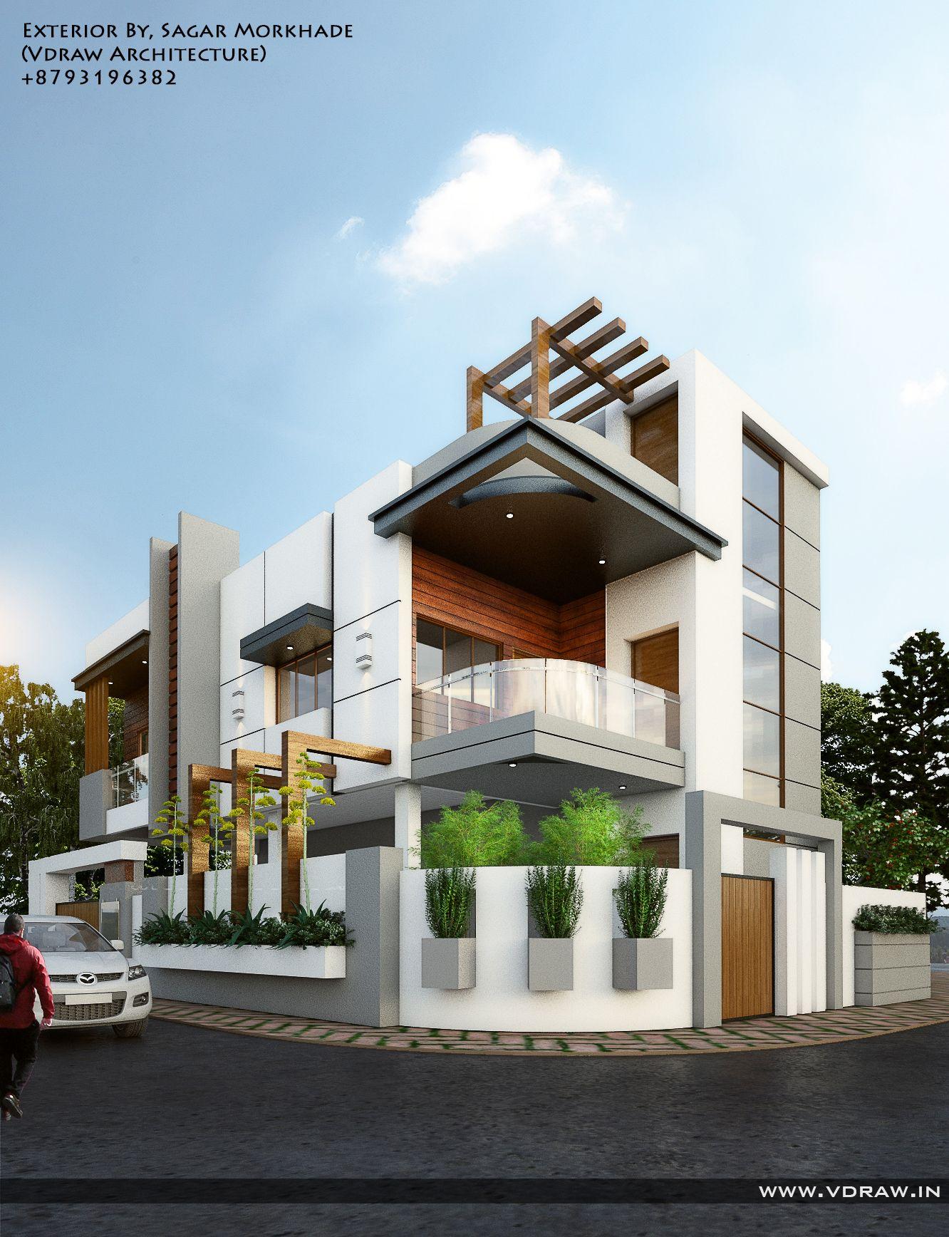 Exterior by sagar morkhade vdraw architecture 8793196382 façade villa plan maison