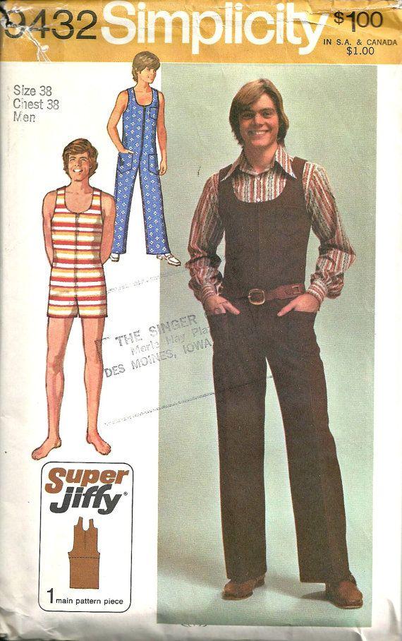 Men\'s jumpsuit Simplicity Pattern 9432 Size 38 Vintage 1970\'s