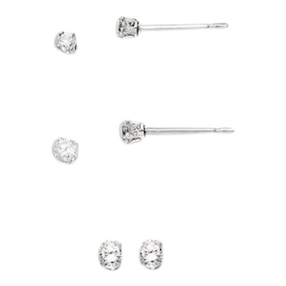 Sterling Silver 2mm Round Snap Set CZ Stud Earrings