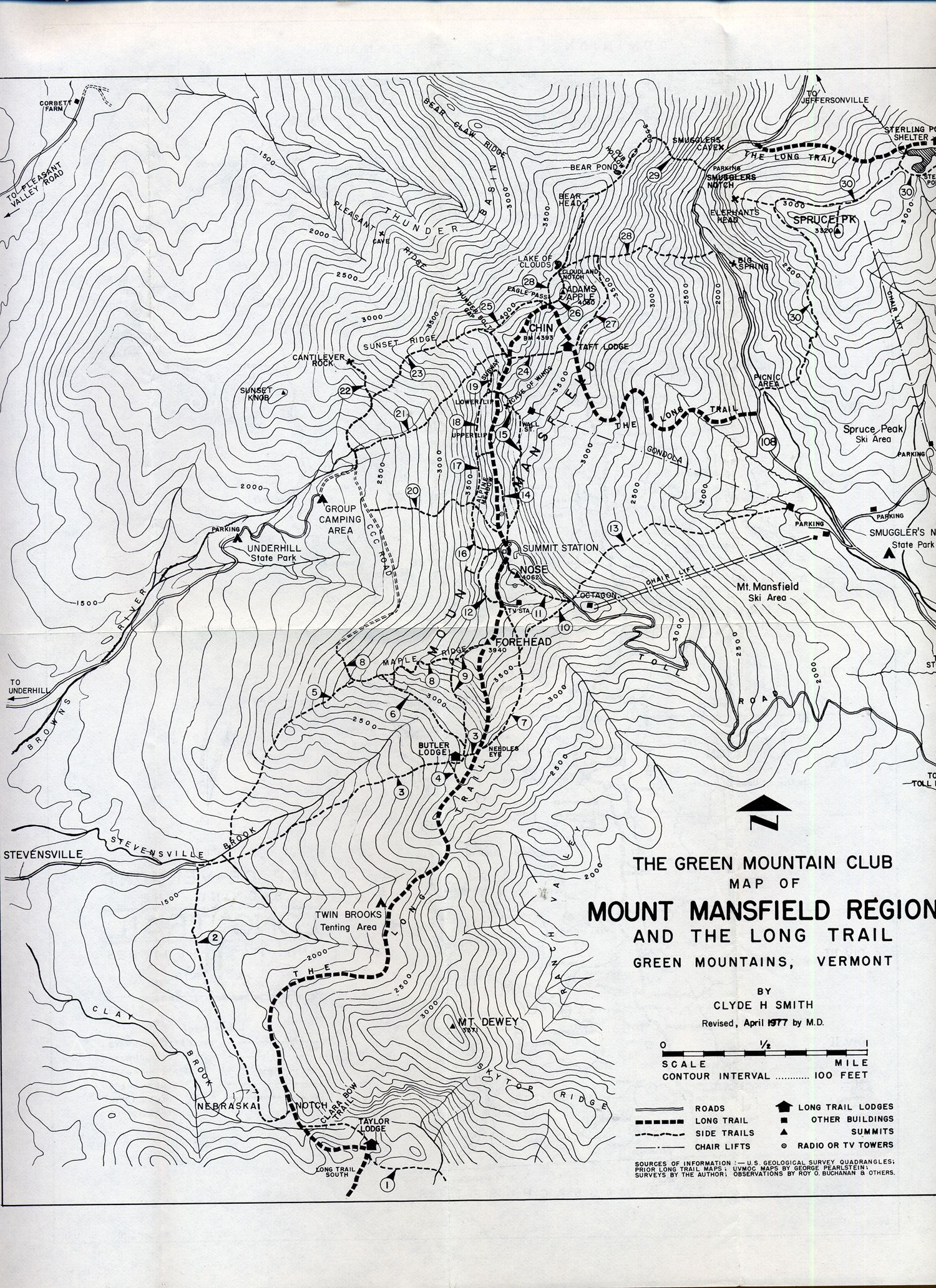 Mount Mansfield Map - Green Mountains Vermont • mappery | Hiking ...