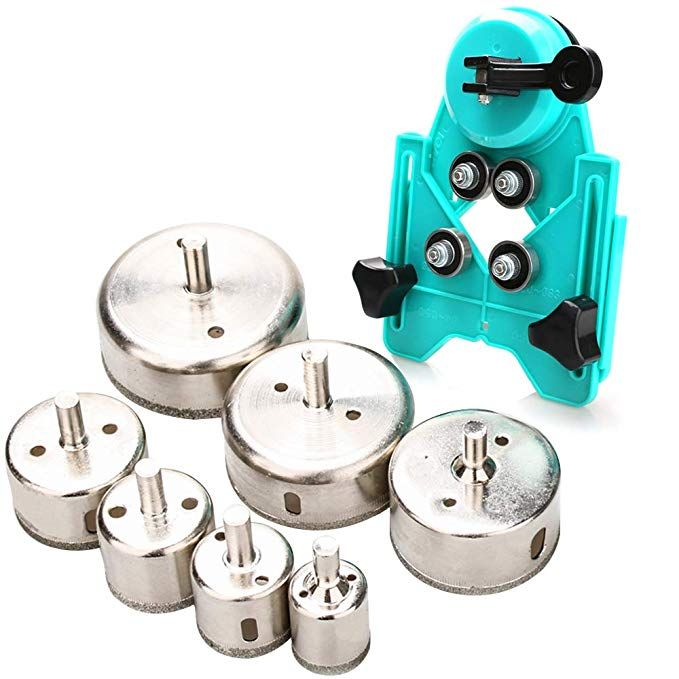 Hole Saw Set 7pcs Diamond Drill Bits With Hole Saw Guide Jig Fixture 1 1 2 1 6 2 4 2 8 3 15 Inch Coated Core Drill Bits Adj Drill Bits Hole Saw