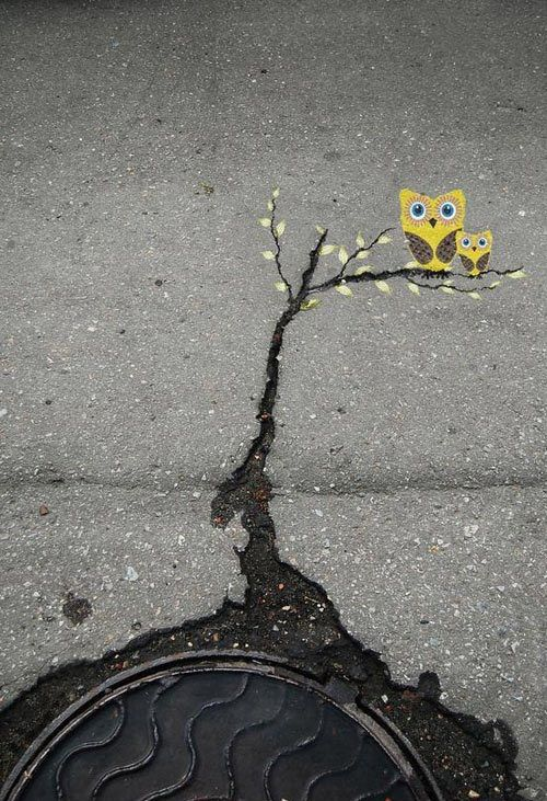 A crack in the road becomes a tree.