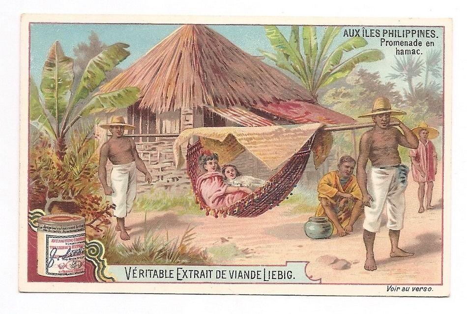 Promenade en hamac - - Aux iles Philippines - Chromo Liebig - Trade Card
