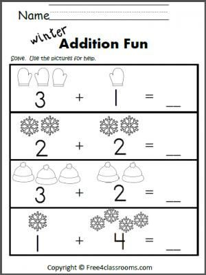 Free Winter Addition Worksheet For Learning To Add Up To 5.