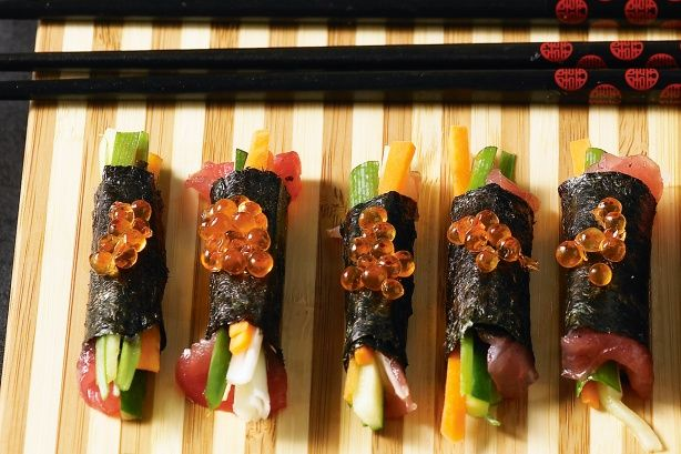 Tuna & Vegetable Nori Rolls With Salmon Roe Recipe - Taste.com.au
