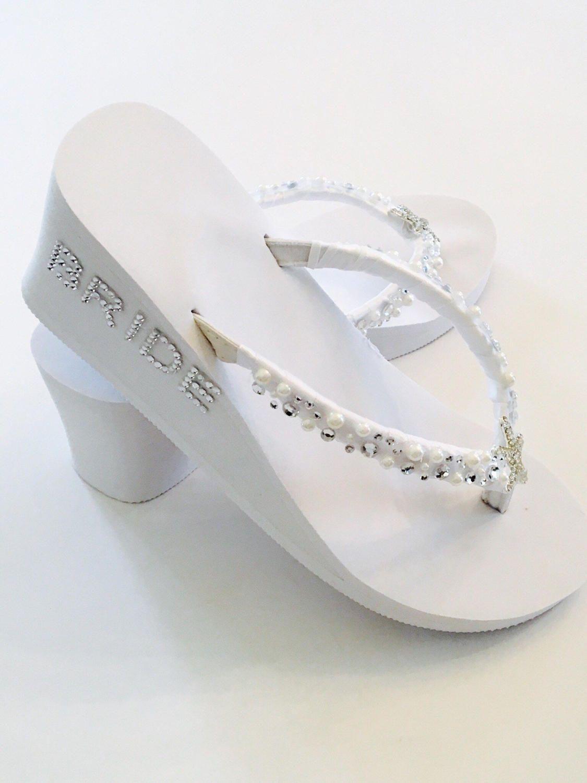 White Wedding Flip Flops.Bridal Flip