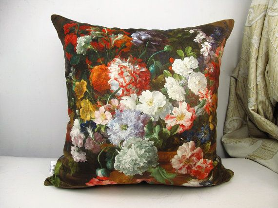 Elegant square velvet pillow cushion cover floral  by WhooplaArt