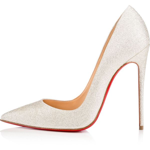 So Kate 120 Ivory Glitter - Women Shoes - Christian Louboutin (2.290 BRL) ❤ liked on Polyvore featuring shoes, pumps, pointed toe high heels stilettos, ivory shoes, christian louboutin shoes, pointed toe stilettos and glitter stilettos