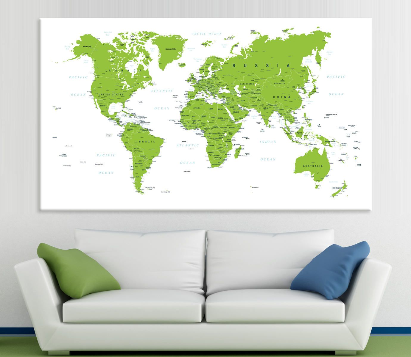 Detailed world map green and white color world map art canvas print detailed world map green and white color world map art canvas print world map canvas set gumiabroncs Images