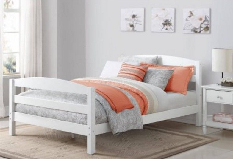White Full Size Bed Frame With Wood Headboard Platform Modern ...