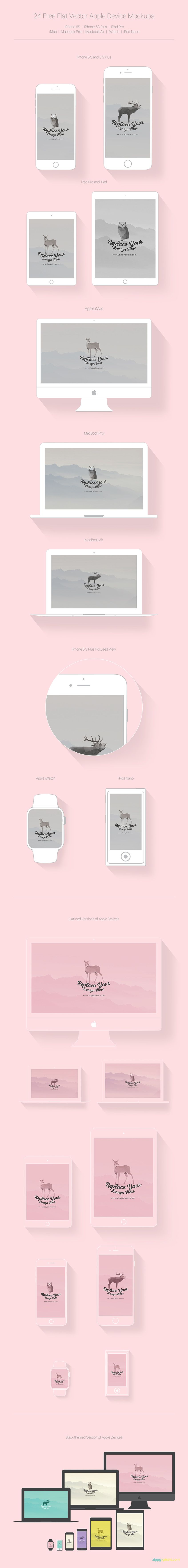 24 Free Flat Vector Apple Device Mockups (All Apple Devices Including iPhone 6S/6S Plus) (24.79 MB) | ZippyPixels | #free #mockup #photoshop