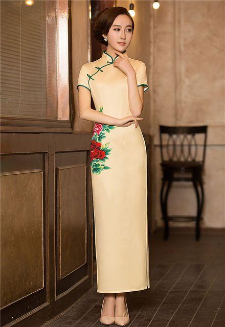 0852a0834 2016 vestido de festa longo QiPao largo chinos vestidos para mujer cheongsam  de china tienda de ropa sml XL XXL
