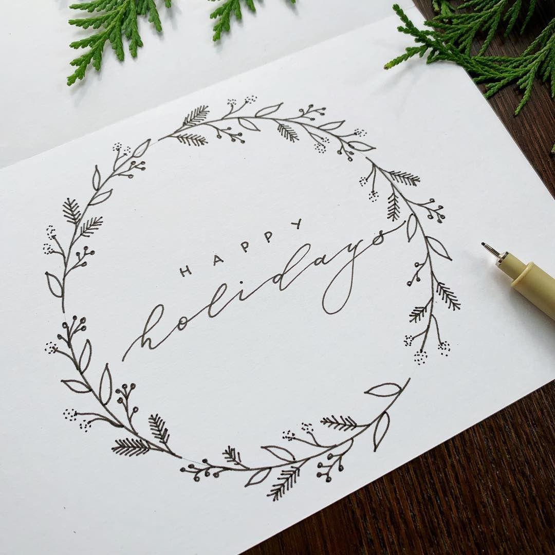 Photo of Botanical Wreath on Christmas Card | Everlace Design Co