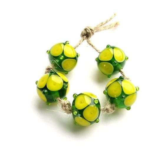 Yellow and green and beige bead set