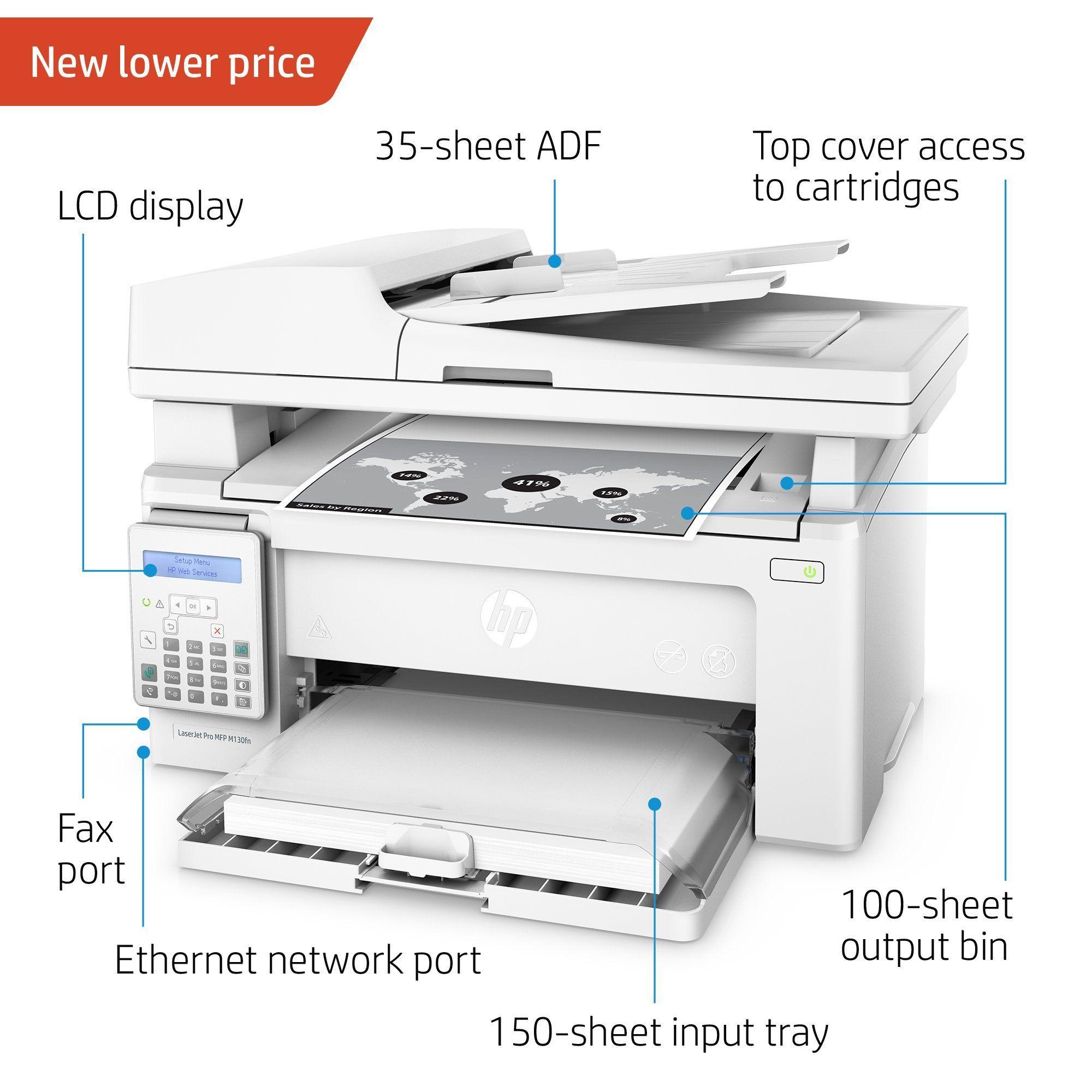 Hp Laserjet Pro M130fn Allinone Laser Printer With Print Security G3q59a Replaces Hp M127fn Laser Printer Certified Refurbi Mobile Print Laser Printer Printer