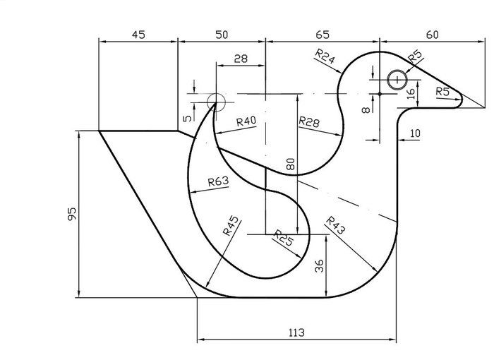 Pato Con Tangencias Interesting Drawings Technical Drawing Autocad Isometric Drawing