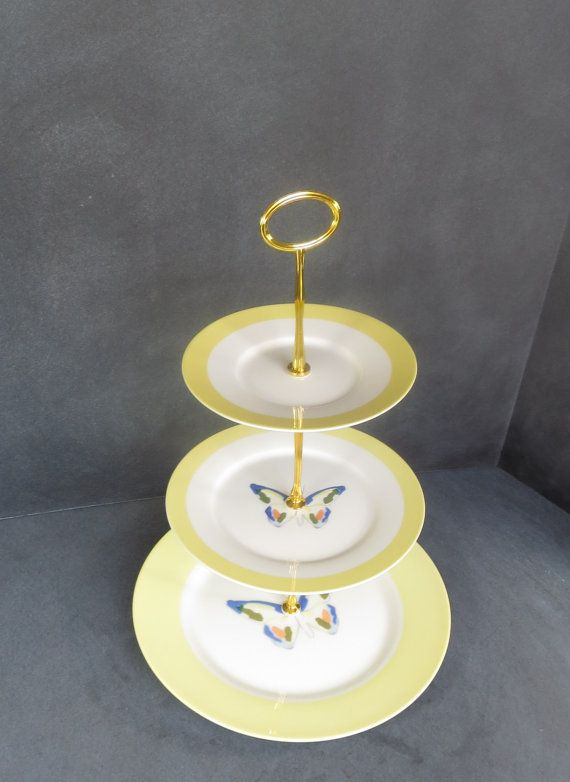 Yellow Tea Stand 3 Tier Cake Stand by DancingDishAndDecor on Etsy