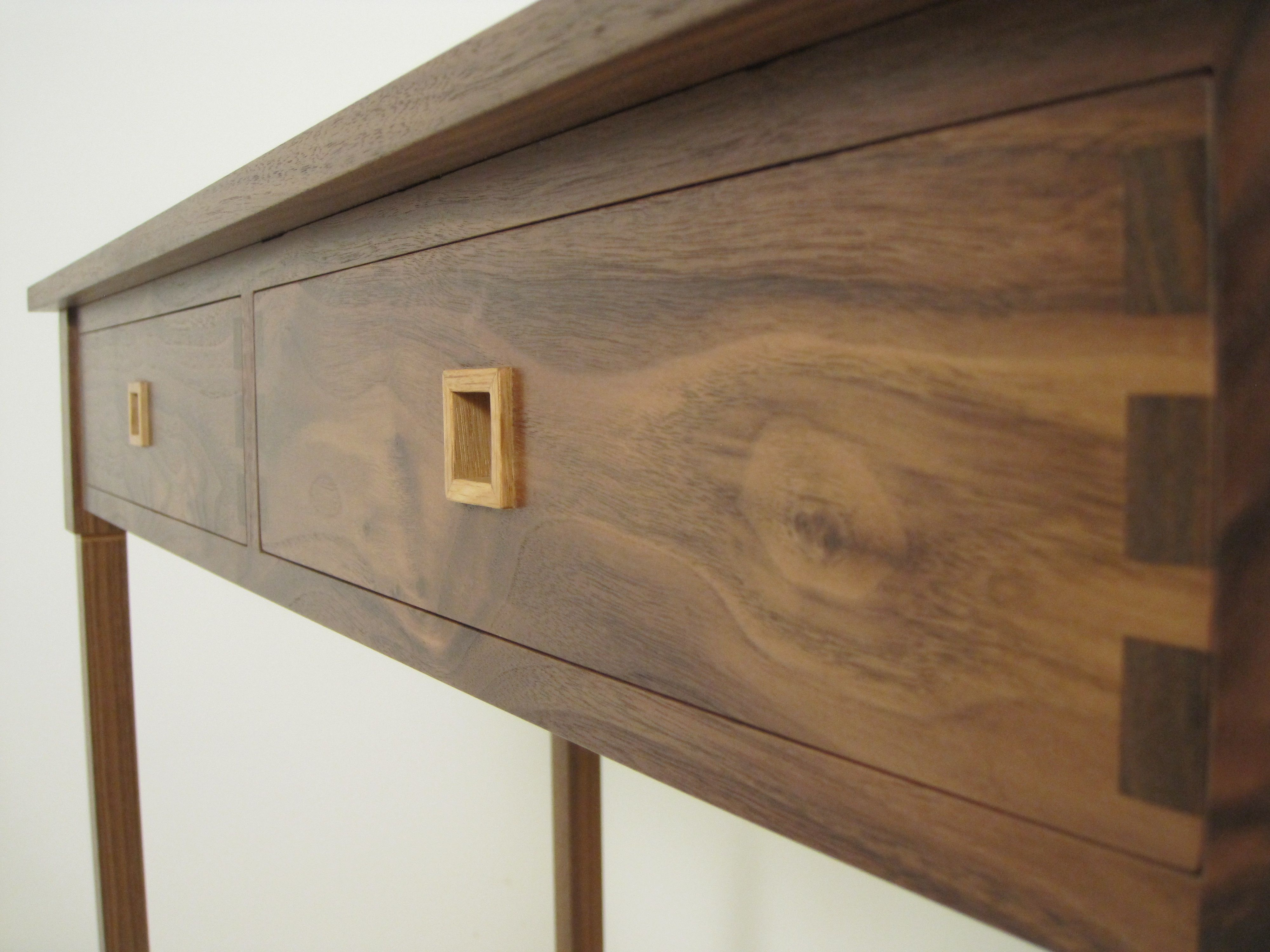 Console Table In American Black Walnut With Oak Top And Detailing