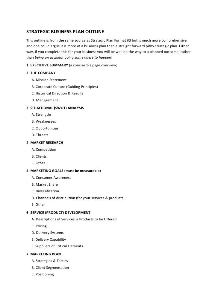 STRATEGIC BUSINESS PLAN OUTLINE This outline is from the same - sample business plan outline template