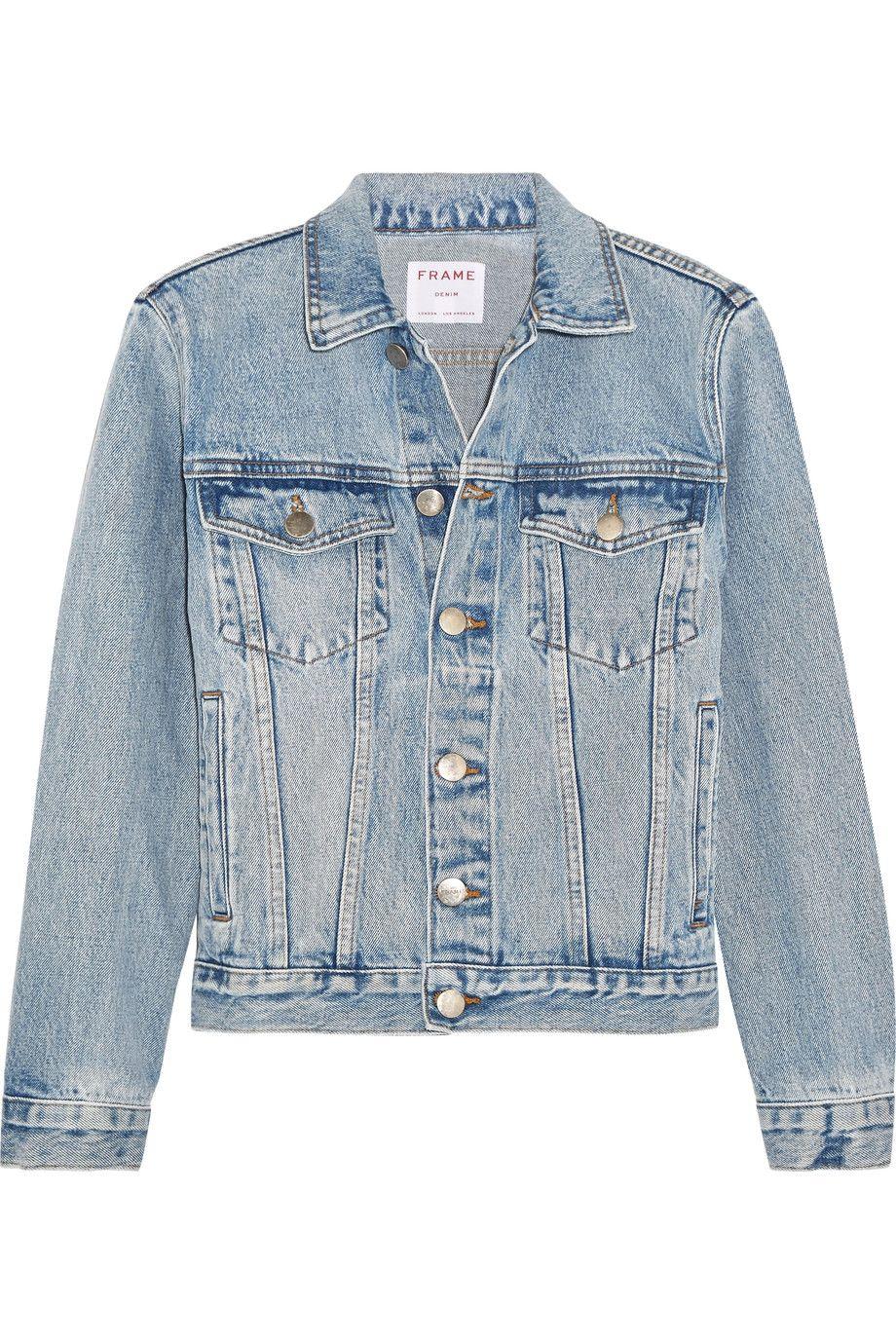 Light Denim Rigid Re Release Denim Jacket Frame Denim Jacket Fitted Jean Jacket Black Maxi Dress Outfit