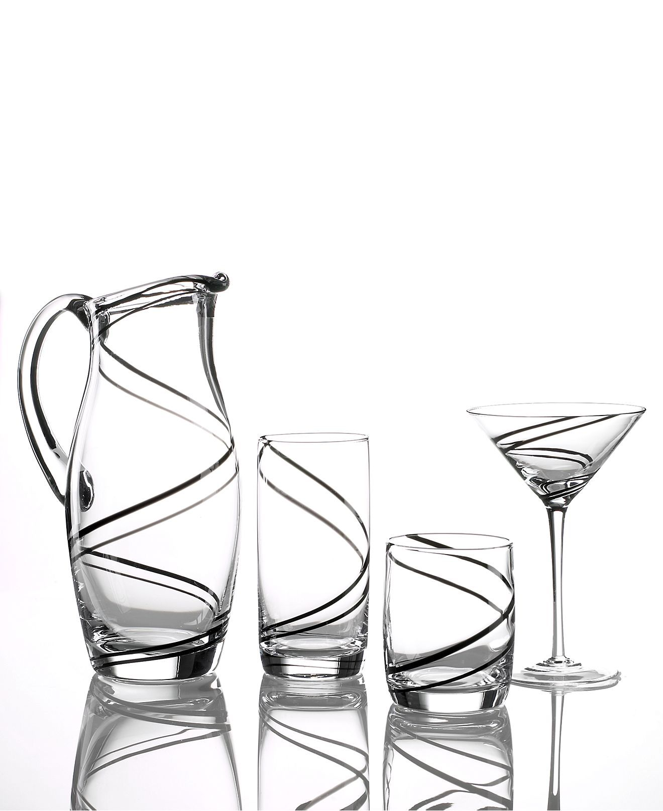 "Macy Wedding Gifts: Luigi Bormioli ""Black Swirl"" Glassware Collection"