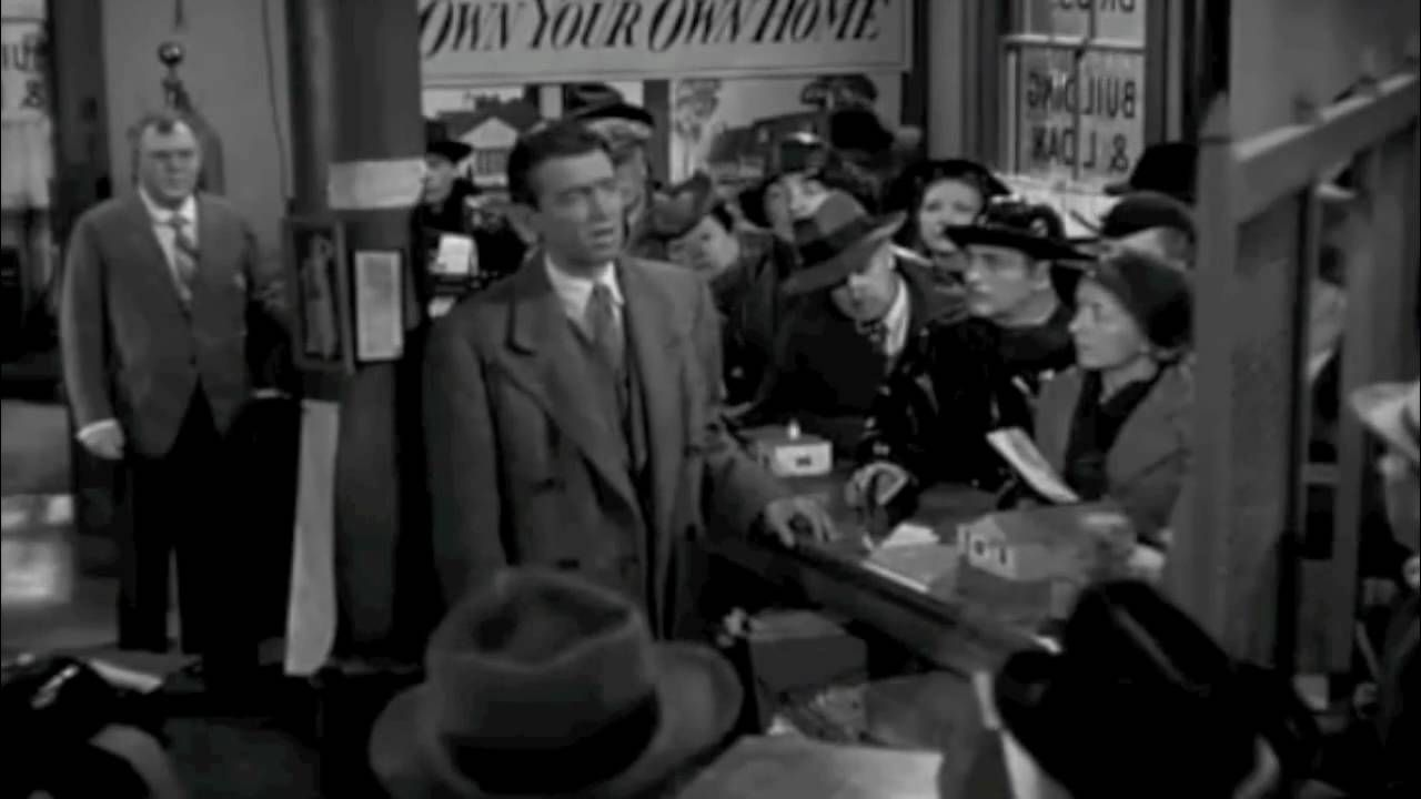 Its a wonderful life clip -- George pleads with the throng while he tries to explain how the banking system works. The Building & Loan doesn't keep all the depositors money on hand; it lends the money out into the community as an investment. For any instructor who wants students to gain an appreciation for why bank runs existed and what the banking industry looked like prior to FDIC insurance, this scene is worth viewing.
